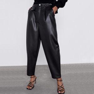 ZOEPO فو جلدية عالية مخصر سروال المرأة أزياء فضفاضة PU جلد النساء بنطلون جيوب أنيقة سروال أنثى السيدات JP