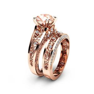 Presente do dia de moda Women 18K Rose banhado a ouro de pedras preciosas Ring Set Jóias Wedding dos Namorados Tamanho 6-10