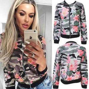Moda para mujer de las señoras de las chaquetas de impresión floral retro cremallera hasta la chaqueta de bombardero capa ocasional Outwear S-XL