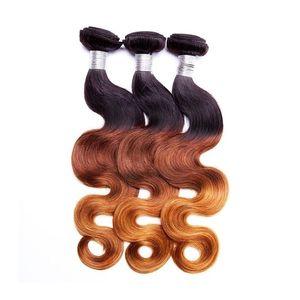 H A Body Wave Human Hair Bundles Brazilian Peruvian Indian 100 %Virgin Hair Extensions Ombre Three Tone 8 -28inch