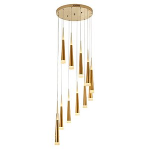 2019 Novo Luzes Led candelabro sala de estar villa villa rotativa escadaria longo lustre loft lustre lâmpadas de chuva de meteoros