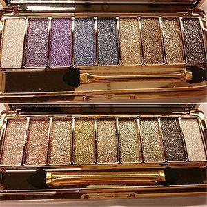 Sombra de ojos brillo 9 del diamante del color brillante colorido de sombra de ojos con el cepillo del maquillaje del partido cosméticos profesionales de la mascarada