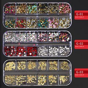 Mixte Style Or Argent creux 3D Nail Art Décorations Rivets multi-taille Nail Perle strass bricolage Charm Accessoires de manucure