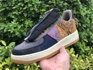 Ausgezeichnete Qualität Travis Scott 1 Low Sport Designer Schuhe Multi Color Stitching Zipper TS YY Fashion Sneaker Schiff mit dem Kasten