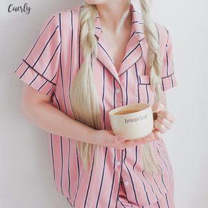 Summer New Fashion Women Pajamas Turn Down Collar Sleepwear 2 Two Piece Traditional Set Shirt Shorts Striped Casual Pajama Set