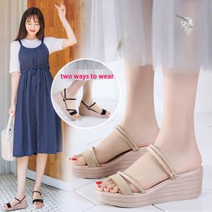 EOFK Verão Mulheres Sandals couro macio 2019 femininas Cunhas Sandálias Sapatos Mulher Platform Slides respirável Vaca Suede
