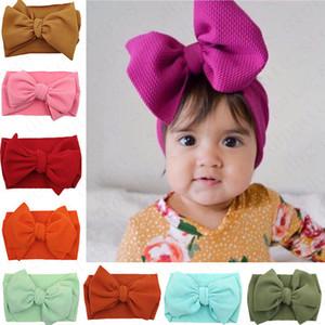 Enfants Bébés filles Bow large élastique Bandeau Turban Solide Couleur bowknot cheveux bande INS enfant nouveau-né Bandeaux Headwrap accesseries D61005