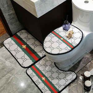 Última abeja impreso raya de habitaciones Mats INS estilo del diseñador asiento del inodoro Accesorios patrón clásico cubierta antideslizante baño