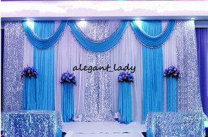 3m*6m wedding backdrop swag Party Curtain Celebration Stage Performance Background Drape With Beads Sequins sparkly Edge