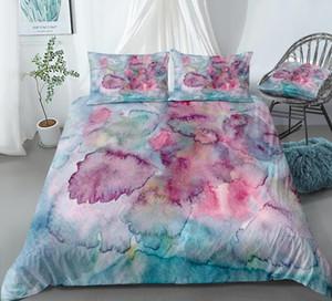 Oil Painting Bedding Set Pink Blue Duvet Cover Set Pastel Bed Linen Girls Bedclothes Kids Bed Boys Microfiber Home Textiles