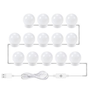 USB светодиодная 12В макияж настенный светильник красоты 2 6 10 14 набор шариков для декорирования стола бесступенчатое затемнения голливудского тщеславия зеркало свет