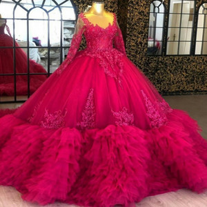 2020 Fuchsia Ball Gown Prom Dresses Sheer Jewel Neck Long Sleeve Lace Appliques Ruffes Tiered Skirts Black Girls Homecoming Evening Gowns