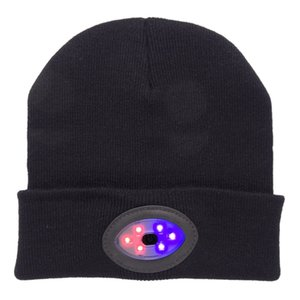 Powerful Led head light lamp 6Led Knitted Hat Rechargeable Light Hands Free Flashlight Cap For Climbing Fishing Camping Warm Hat