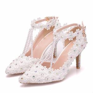 Wedding Shoes Feminino Sandals Crystal Clear Tassel pérolas de luxo branco de renda bordado AB noiva sapatos bicudos Meninas