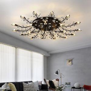 Lustre nordique noir Lumières pour Living Room Chambre Hôtel Hall Villa Led Plafond intérieur Lustre en cristal Lamp