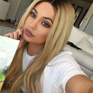 European and American chemical fiber hair long straight hair light blonde\gradient color ladies high temperature silk long found wholesale