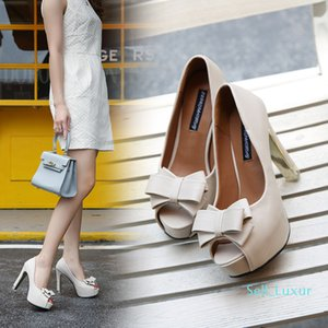 Pretty2019 High Bow Coarse With Fish Mouth Waterproof Platform Women's Singles Shoe