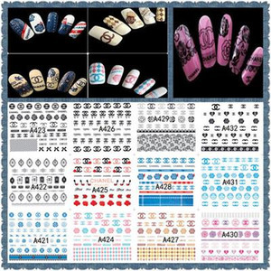 Vente en gros 12sheet / set LOGO Grand coloré autocollant eau Designs Nail Art Stickers Stickers Maquillage Tatouages ​​eau A421-432