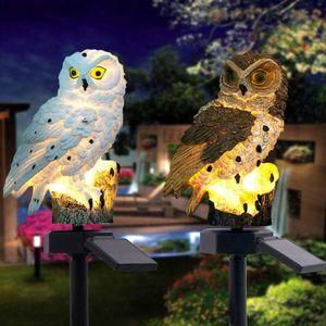 Solar Powered LED luci giardino cortile di casa gufo Prato Lampada ornamento Animale Uccello Outdoor Decor scultura statue da giardino T200117