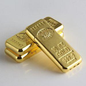 Cigarrillo de la forma de accesorios de moda de Nueva barra de oro Gas Butano Encendedores Muela de metal ligero