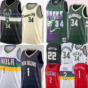 NCAA Zion 1 Williamson Giannis 34 Antetokounmpo Jersey Lonzo 2 Ball Khris Middleton 22 Retro Mesh Ray Allen 34 Basketball Maglie