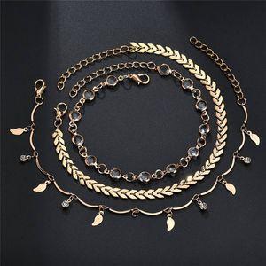 Pfeil Blatt Quaste Fußkette Kette Gold Ketten Diamant Mehrschichtige Wrap-Fuss-Ketten Fuß Armband Frauen Modeschmuck wird und Sandy Geschenk
