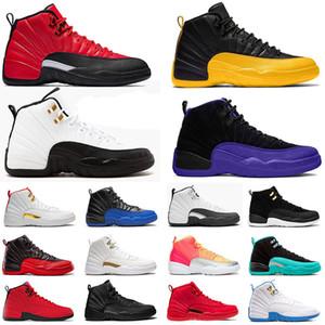 الحجم EUR 47 nike air jordan retro 12 12s أحذية كرة السلة XII STOCK X أحذية REVERSE FLU GAME Jumpman 23 BULLS DARK CONCOR FIBA Gold حذاء رياضي رجالي جديد