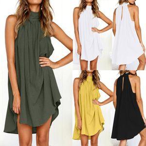 Kadınlar Keten Tank Elbise Kolsuz Turtleneck Casual Gevşek A-line gelinlik Beach Yaz Giyim