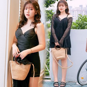 2019 women's split Top Swimsuit solid color hollowed-out blouse steel holder gathers to show thin sexy two-piece swimsuit women