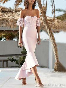 2019 Blush Pink Lace Off Shoulder Sweetheart Mermaid Abiti da damigella d'onore bassi Matrimoni Guest Dress Plus Size Abiti da spiaggia