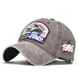 2020Fashion europeu e americano de beisebol letras bordadas JUMP1985 Denim afligido Washed Cap