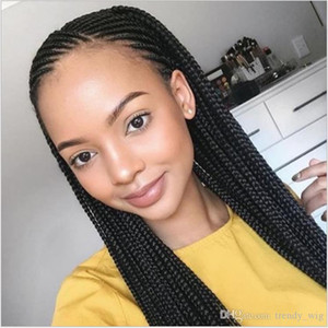 Selling front lace longs straight hair African dirty braid wig female chemical fiber hair hood whole braid human hair wigs lace front wigs