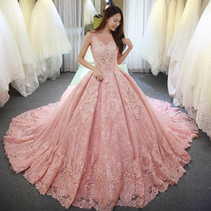 Luxury Pink Quinceanera Dresses Sheer Neck Sweep Train Prom Dresses With Lace Applique Backless Sweet 16-Year-Old Adult Prom Dress HY4157
