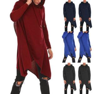 Sudadera con capucha de los hombres a estrenar 2018 Nueva Forma de resorte hombres del otoño de la capilla Cardigan Mantisas Negro Capa de vestir exteriores de Calle 2XL