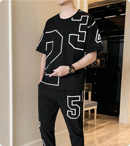 Men's Exercise & Fitness Clothing Fashion Mens Casual T-Shirt + Long Pants Two-piece Suit Male Active Thin Tracksuits 2 Colors Size M-4XL