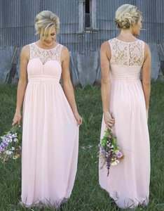 Sexy Pink Lace Sheer Crew Neck Chiffon Bridesmaid Dresses Illusion Back Country Style Maternity Long Maid Of Honor Dresses