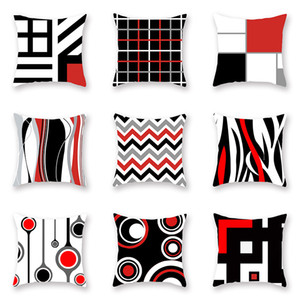 Striped Geometric line Pillow Case Cushion Cover Glamour Square printing Pillowcase Cushion Cover Home Office Sofa Car Decoration HH7-2025