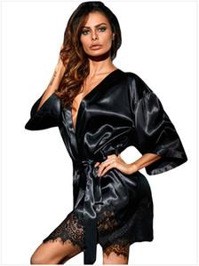 Lace autunno donne sexy di sonno pigiami Primavera sonno Robes Solid Sera Notte Robe Abbigliamento Vestioes