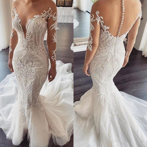 Illusion Long Sleeve Mermaid Wedding Dresses 2020 Sheer O-neck Luxury Lace Applique Covered Buttons Wedding Gown robe de mariee