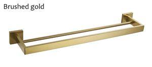 Edelstahl Doppelhandtuchhalter Quadratischer Handtuchhalter Wandmontage Badaccessoires Gebürstet Gold / Gebürstet / Spiegel / Schwarz