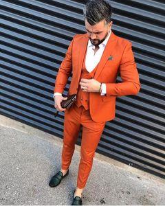 Costumes pour hommes Blazers Orange Slim Fit Hommes PROM One Bouton Mariage de revers aiguée pour hommes Tuxedos Trois pièces Veste + pantalon + gilet