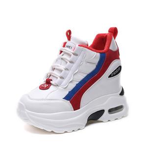 Zapatos de mujer de fondo grueso Zapatillas de tacón oculto Plataforma cuña 2019 Nuevo Cómodo Cuero de PU Heigh Incrementando Casual zapatos blancos Mujer