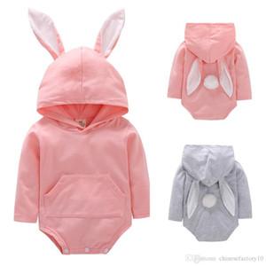 INS Baby Rabbit mit Kapuze Strampler Bunny Ear Easter Overalls mit langen Ärmeln Kleinkindspielanzug 100% Baumwolle 2019 Neu