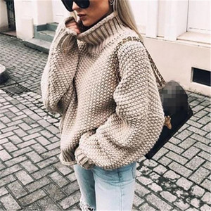 Femmes Pull Mode Batwing Manches Lâche Turtleneck Pull tricoté Automne Hiver Sleeve à manches longues Solide Plus Taille Pullover