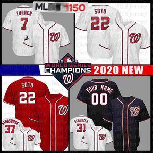 22 Juan Soto 7 Trave Turner Baseball Jersey National Juan Soto Camisas Majestic Cool Base