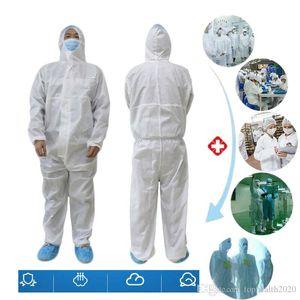 SMMS no tejido traje blanco de la bata de materiales peligrosos Protección de protección desechables bata de aislamiento de ropa ropa de seguridad de fábrica
