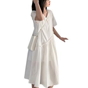 Artı Annelik Kadınlar Kore Moda Midi Pileli Patchwork Elbise Yaz Hamilelik Giyim White için Boyut Gevşek Hamile Elbise