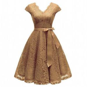 Aovica V-Yaka Dantel Diz Boyu Kadın Elbiseler ile Kısa Kollu Elbise İçin Kadınlar Kadın vestidos Yeni Geliş Şık En Ucuz Fiyat
