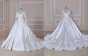 Vintage Long Sleeves Wedding Dresses Illusion Designer Satin Ruched with Long Train Beaded Wedding Reception Guest Dress Bridal Gowns Cheap