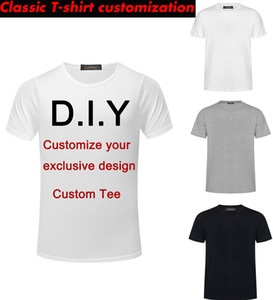 2019 private custom men's DIY fashion regular classic T-shirt long vest long hem hip hop T-shirt DIY Harajuku rock men and women DHJ